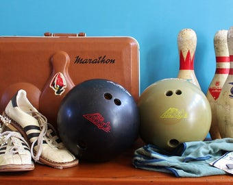 SUMMER SALE!!! Vintage Funky 1970s-80s Bowling Set with vintage sneakers and six Bowling Pins