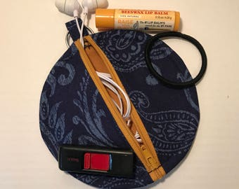Navy Paisley Earbud Pouch with Golden Yellow Zipper