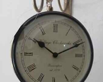 Vintage station Wall Clock railway clock two sides 15 cms dial size brass luxury kotsa by sawais
