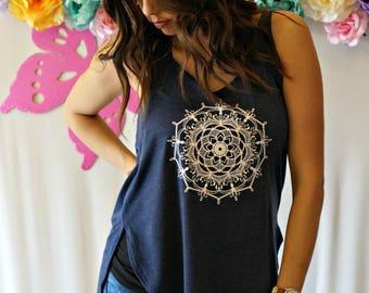 Mandala Flowy Side Slit Tank Top - Mandala Yoga Inspired Workout Tank - Hi Low Tank Top - Bella Womens Tank Top - Edgy Graphic T-shirt