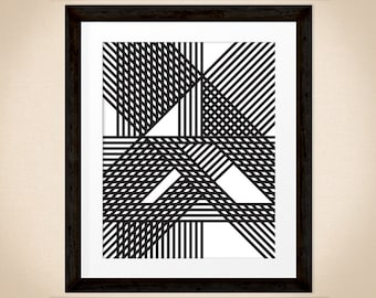 At Every Turn 8x10 inch black & white striped abstract artwork for instant download