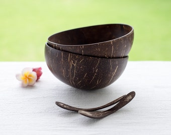 Set of 2 Handmade Coconut Shell Bowls & Coconut Spoons | Smoothie Cups | Rice Salad Dessert Cereal Coconut Bowls | Eco Friendly Vegan Gifts