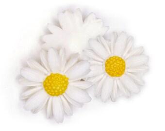 Vintage Daisy Flower Cabochon, aceteloid flat back, 1960s, Japan - 26 mm - 6 pcs - C66-6