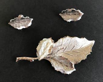 Sterling silver set by Bojar : realistic leaf pin and screw on earrings vintage elegance gift