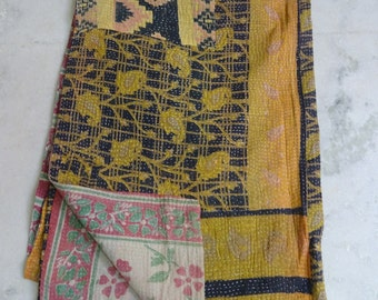 Indian Handmade Kantha Quilts Vintage Throw Bedcover Bedspread Gudri 1870 BY artisanofrajasthan