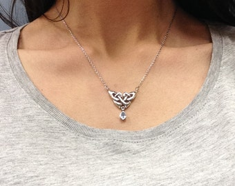 Sterling Silver Celtic Necklace with Light Blue Stone