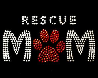 Pet Rescue Mom Black Hoodie with Rhinestones