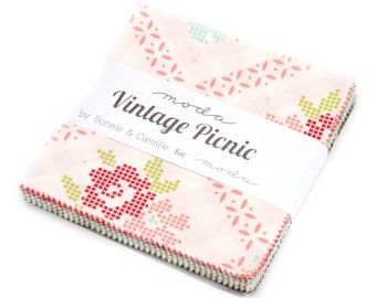 "Moda VINTAGE PICNIC Charm Pack 42 5"" Quilt Fabric Squares 55120PP by Bonnie & Camille"