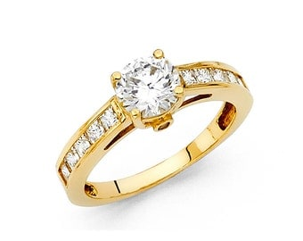 1.5 CT Solitaire Round & Princess Cut Diamond Engagement Ring 14k Yellow Gold