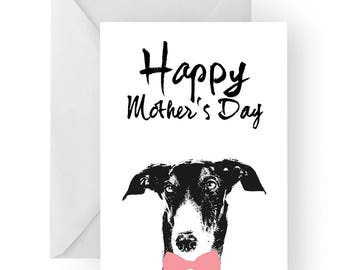 Greyhound Mother's Day card- dog Mother's Day card, dog card, Mother's Day card, cute Greyhound card, Greyhound card