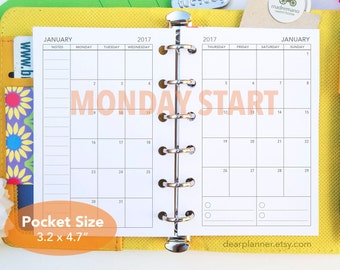 PRINTED Mo2p planner insert - MONDAY-Sunday - Dated up to 2018 Month on 2 page - Pocket 2018 Mo2P - Pocket size refill - K-25