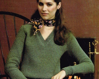 Vintage Crochet Pattern for women - V-Neck pullover or sweater - Ladies - 70's 80's - instant download PDF - retro sweater - crocheting