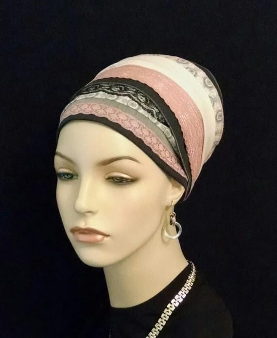 Updated pretty mauve pink and black lace, Sinar tichels, tichels, apron tichels, chemo scarves, head wraps, mitpachat