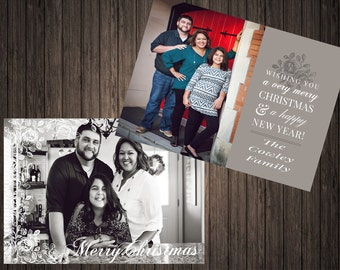 Wishing You a Merry Christmas & A Happy New Year 2 Sided Photo Holiday/Christmas Card (61) Happy New Year