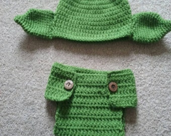 Cute crochet baby yoda hat  & diaper/nappy cover preemie to 12 months