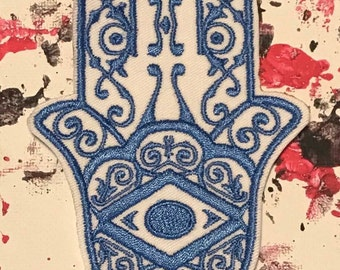Hamsa patch, evil eye, all seeing eye, eye of providence, hand of god, hand of miriam, hand of mary, gift under 10, ohm patch, eye of fatima