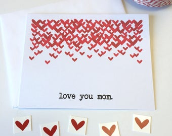 Love You Mom - Mother's Day Card - Red Hearts - For Mom - Mother's Day - Mom's Day - Mama - Mommy - Love You Card - Happy Mother's Day