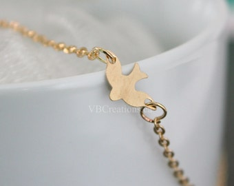 Dove Necklace - Clavicle Necklace - Bird Necklace - Gold Chain - Dainty - Bird Jewelry - Gift for her - Mother Gift - Gift Ideas - Sister