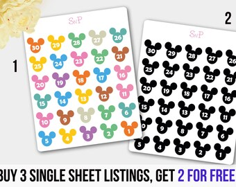 Disney Countdown, Countdown Stickers, Cartoon Stickers, Erin Condren, Filofax, Planner Stickers