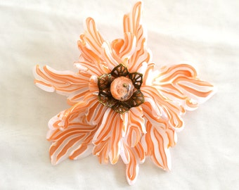 Brooch and hairclip elegant abstract flower with czech crystal bead.Flower  modern jewerly.