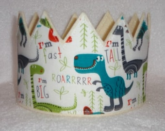 Dinosaur Birthday Crown, Dinosaur Birthday Hat, Birthday Party Crown, Boys Birthday Crown, Kids Crown, Adult Crown, Party Hats, Photo Prop