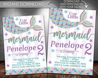 Mermaid Invitation, Mermaid Birthday Invitation, Mermaid Party Invitation, Purple Teal Gold, Under the Sea, Instant Download, Editable #494