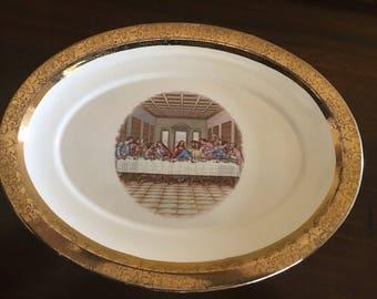 Sabin 22K gold Last Supper Platter Vintage