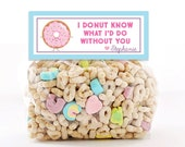Personalized Bag Topper I Donut Know What I'd Do Without You Valentine Party Favor, Valentine Party Favor Topper, Valentine Donut Favor