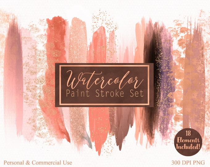 PEACH WATERCOLOR Brush Stroke Clipart Commercial Use Clip Art Watercolor Paint Blog Header Peach Rose Gold Confetti Watercolor Logo Clipart