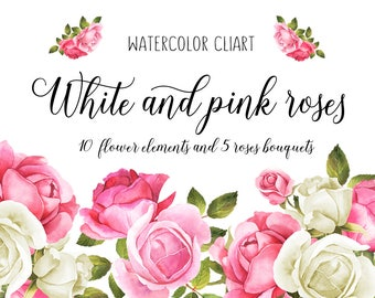Pink Wedding clipart, Floral Clipart, Rose wedding, White roses, Wedding Clip Art, Roses bouquet, Wedding clipart, hand-painted, bouquets