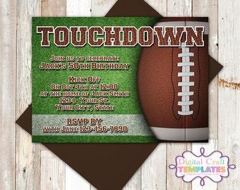 Football Birthday Invitation, Touchdown, Football Theme, Invitation, Party Printables, Personalized Invitation, #441