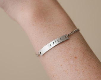 Bar Bracelet - Personalized Hand Stamped