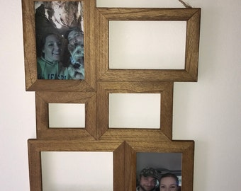 collage photo frame 6 picture photo frame family photo frame wood stained photo collage rustic wood picture frame
