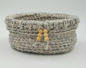 Crocheted Basket, Storage Basket, Decorative Basket, Twine Basket, Small Crocheted Basket, Cotton Basket, Organizer Basket, Crochet Bowl