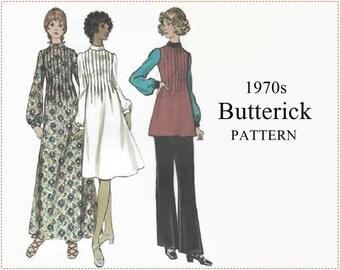 1970s Sewing Pattern - Butterick 6336 Sewing Pattern - Misses Dress, Tunic & Pants - Size 14 Bust 36 - Tucked Dress Mock Turtleneck - UNCUT