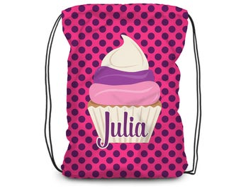 Kids Cupcake Drawstring Backpack - Pink Cupcake Cinch Sack Bag, Purple Dots Dessert Cupcake Personalized Backpack - Kids Personalized Gift