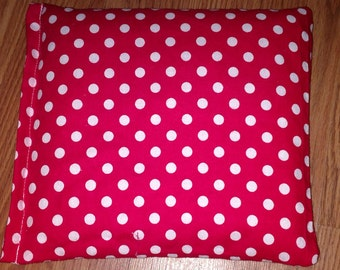 Corn Bag -Heating Pad - Ice Pack -Microwavable- Freezable- Red Polka Dot- Approx 8x10