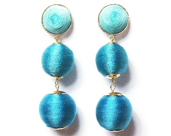 3-Tiers Of Turquoise Blue Silky Sheen Disco Ball Drop Statement Earrings