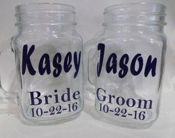 SALE: Personalized Mason Jar, Wedding, Rustic Wedding, Bridal Party, Bride and Groom, Country Wedding, Custom Mason Jar, Wedding Favor