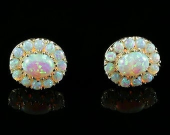 Opal Silver Cluster Earrings - Fabulous Opals
