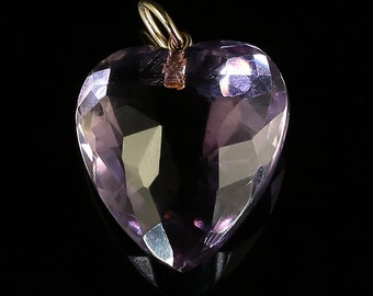 Antique Victorian Amethyst Heart Pendant Gold
