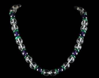 Antique Suffragette Necklace Quartz Amethyst Malachite 14ct Gold