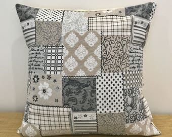 "Patchwork Cushion Cover. Stone Brown Brocade. Decorative Throw Pillow. 18"" (45cm) . Cushion Covers Australia"