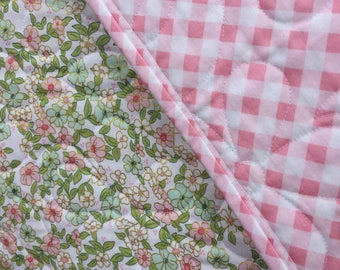 Pink Floral Baby Girl Quilt, Baby Blanket, Newborn Quilt, Whole Cloth Quilt