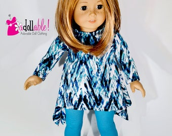 American made Girl Doll Clothing, 18 inch Doll Clothing, Silky Stillwater Tunic with Leggings made to fit like American girl doll clothes