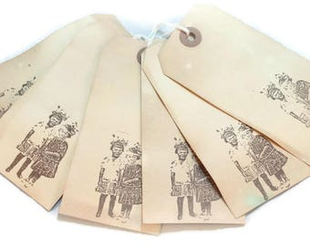 Gift Tags, Vintage Style Hang Tags, Primitive, Tea Stained , Luggage Tags, Journaling Tags, Shabby Vintage, Scrapbook Tags, Merchandise Tags