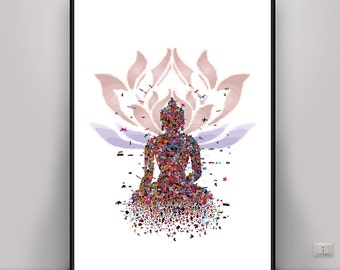 Buddha Art, Lotus Art, Meditation Art, Digital Art, Digital print, Mindful Art, Zen Art, DIGITAL ART, Energy Art, Energy Print, Yoga Art