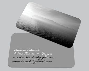 Modern Ocean Sea BUSINESS CARD / Traveler Calling Card / Custom Contact Card / Black and White Photography