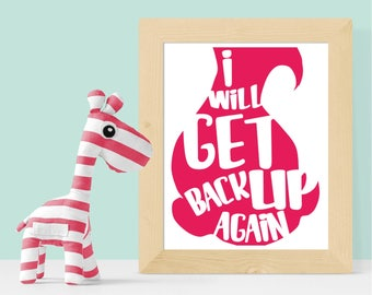 I Will Get Back Up Again Trolls Print 8x10 16x20 Digital Download - Nursery, Playroom, Dreamworks Trolls, Princess Poppy, Trolls Quote