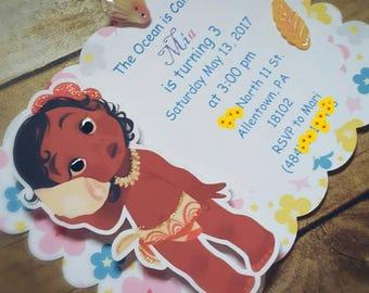 Baby Moana Invitations | Moana Invitations | Hawaiian birthday invitations set of 12